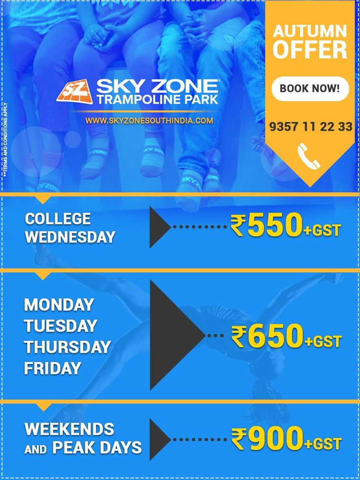 Avail the special offers for the autumn season @ Sky Zone Hyderabad Hurry up! Limited time offer Info: http://www.skyzonesouthindia.com or call 9357 11 22 33