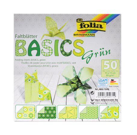 Origami papír Basics 80g/m2 - 20 x 20 cm, 50 archů - zelený