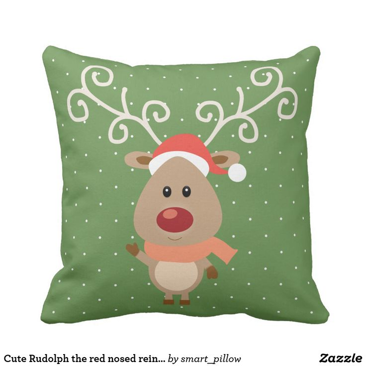 Cute Rudolph the red nosed reindeer cartoon Throw Pillow