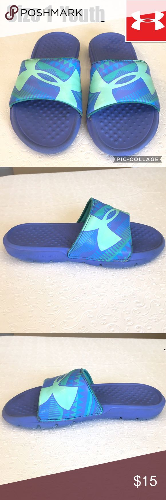 Under Armour Slides Youth Size 1 Excellent Condition. Barely Worn, Grew Too Fast! Under Armour Shoes Sandals & Flip Flops
