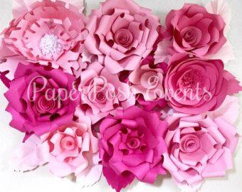 Paper Flower bundle of 5 Handmade Paper by MarthasMasterpieces
