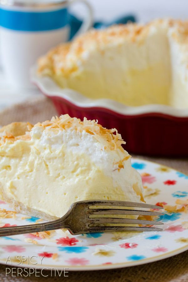Recipe: Fluffy Coconut Cream Pie (whipped cream, cream cheese, cream of coconut, coconut milk and pudding mix) - A Spicy Perspective