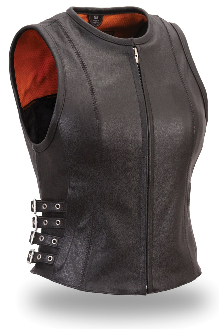 Womens Buckled Zip Front Leather Motorcycle Vest by First Mfg.  www.mymotorcycleclothing.com