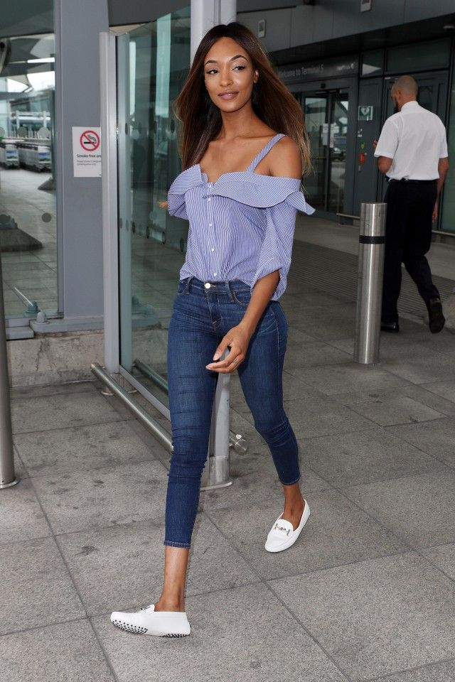 On Jourdan Dunn: Tod's Gommino Driving Shoes in White Leather ($445).