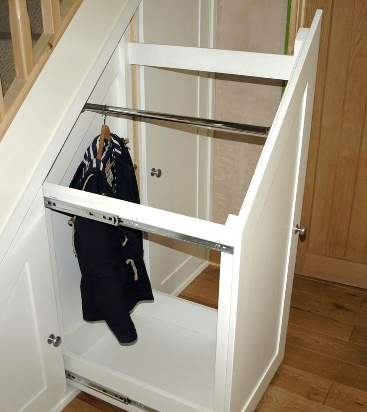 Decoration, Innovative Sliding Storage Under Stairs With White Walk In  Closet And Wooden Stair: Remarkable Storage Under Stairs Decorations And  Pictures