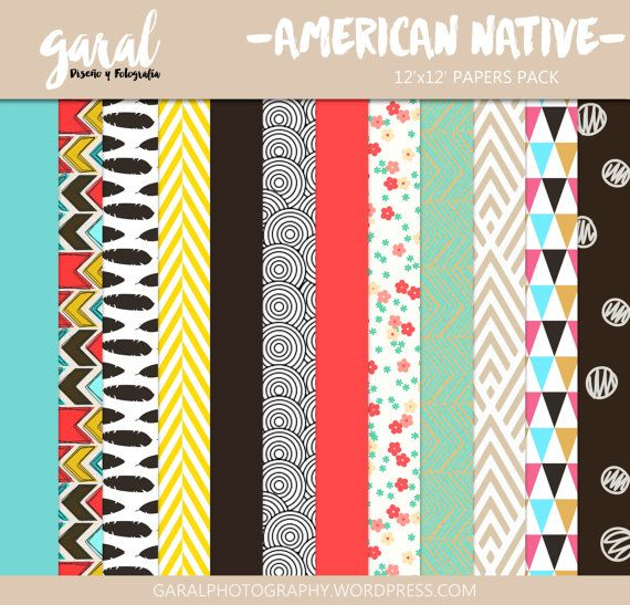 AMERICAN NATIVE Scrapbook Papers Instant Download 12 by marcegaral