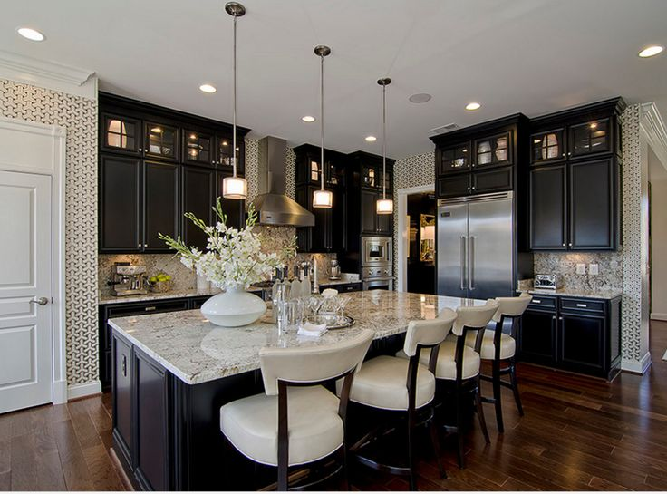 Black ebony stained kitchen cabinets.