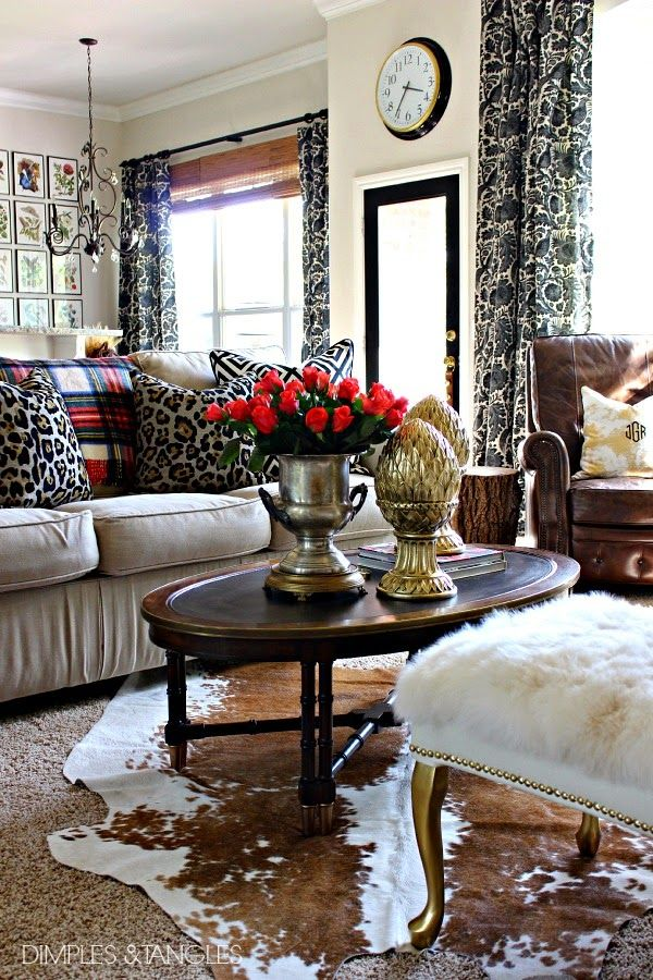 Blogger Stylin' Home Tours:  Fall Home Tour  ||  Dimples and Tangles Living Room  ||  plaid, leopard, black and white, mixed metals