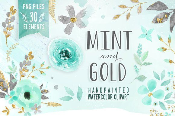 Mint & Gold -  flower clipart by DigitalCloud on @creativemarket