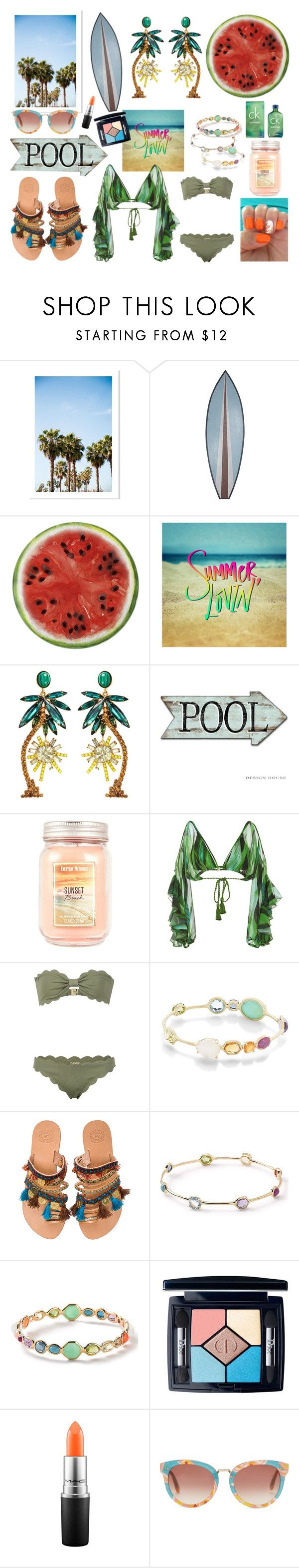 """Early Summer🌴💗"" by helloume ❤ liked on Polyvore featuring WALL, Round Towel Co., Elizabeth Cole, Água de Coco, Marysia Swim, Ippolita, Elina Linardaki, Christian Dior, MAC Cosmetics and TOMS"