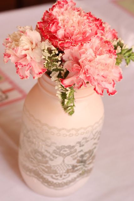 lace spray painted mason jar