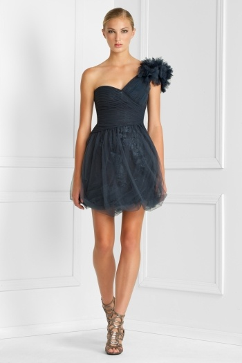 Bcbg Tulle One Shoulder Dress
