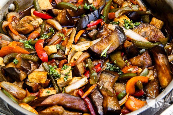 Thai Basil Eggplant (vegan, contains gluten) - Vegetarian Gastronomy