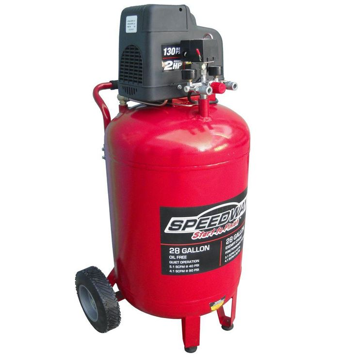 28 Gal. 2 HP Oil-Free Vertical Air Compressor with Quick Connect Manifold and Heavy Duty Wheels