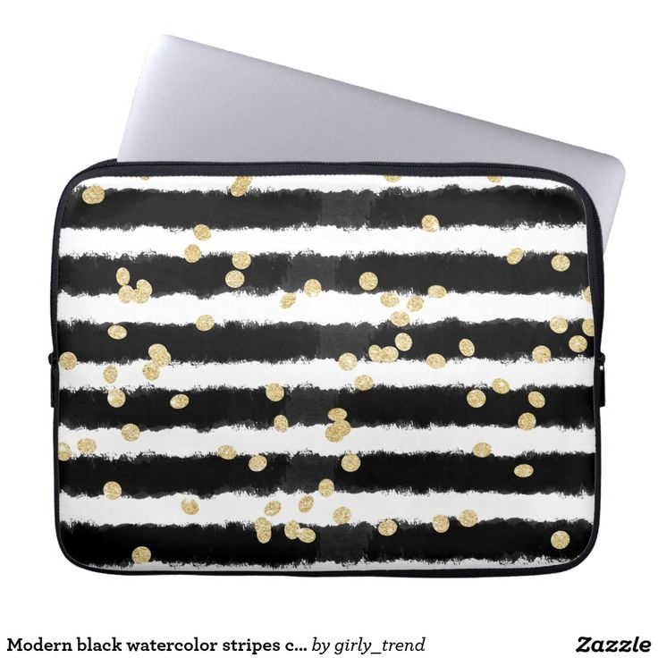 Modern black watercolor stripes chic gold confetti laptop computer sleeve