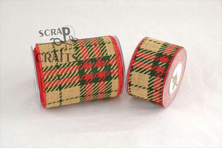 Πολυεστερική+κορδέλα+σε+μπεζ+χρώμα+με+τυπωμένα+καρό.+Κατάλληλη+για+χειμερινή+και+χριστουγεννιάτικη+διακόσμηση....