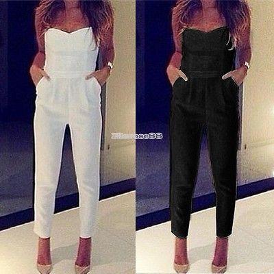 Damen V-Ausschnitt Lange Overall Hose Playsuit Romper Jumpsuit Anzug ElR8