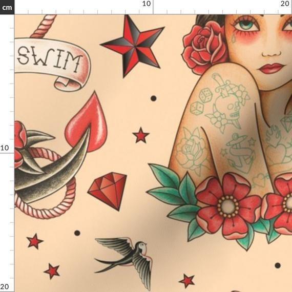 Tattoo Stoff – Old School Tattoo Beige Large von Crixtina – Tattoo Beige Rot Blau Vintage Dekor Cott   – Products
