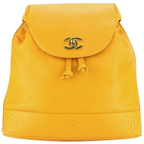 Preowned Chanel Orange Caviar Leather Backpack ($4,225) ❤ liked on Polyvore featuring bags, backpacks, orange, flap backpack, genuine leather backpack, vintage leather rucksack, day pack backpack and leather backpack