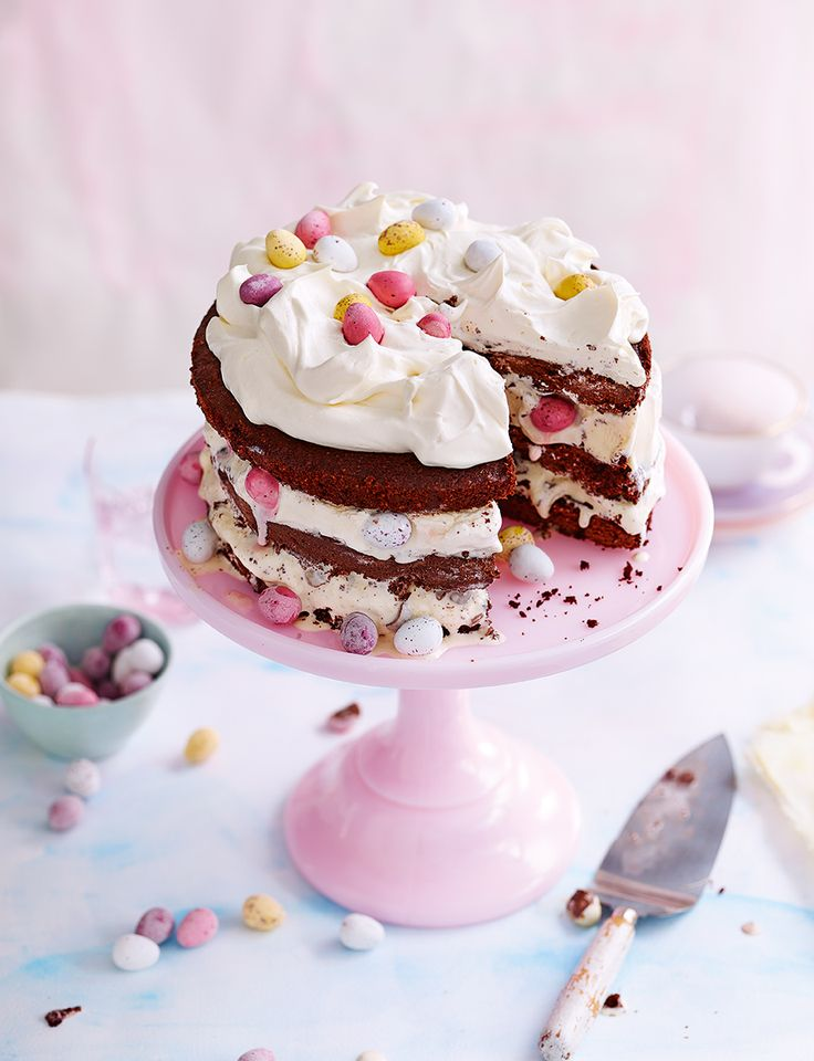 It's the perfect Easter combination – Cadbury's mini eggs, chocolate cake and ice cream all layered together to create one decadent, show-stopping dessert.