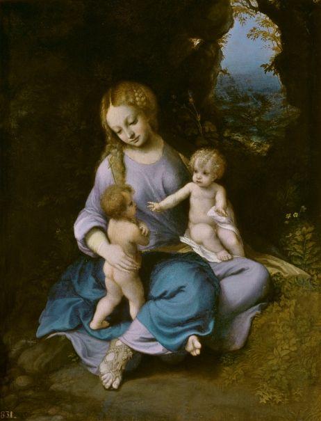 La Virgen, el Niño y San Juan Autor.- Coreggio. Fecha,- 1515 - 1517 Técnica.- Óleo sobre Tabla. Lugar donde se encuentra.- Museo del Prado de Madrid (España)