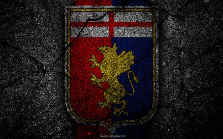 Descargar fondos de pantalla Génova, logotipo, del arte, de la Serie a, fútbol, club de fútbol, el Génova FC, asfalto textura