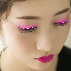Fashionable Sparkle Interactive LED Light Up Waterproof Eyelashes for Party Pub Club Bar