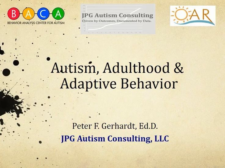 SSC@IAN Autism Research Webinar on Autism and Adaptive Skills for Adulthood-his video is part of a series of webinars on topics of interest to the autism community. In this video, Dr. Peter Gerhardt discusses the adaptive skills/skills of daily living that teens and young adults with autism spectrum disorder need to acquire to help them lead safe, productive, and fulfilling adult lives. These skills include safety, hygiene, employment, social competence, decision-making, self-management...