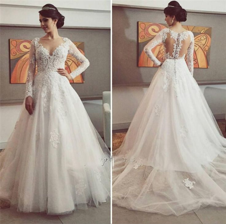 Low Cost Wedding Dresses 2016 New Arabic Winter Long Sleeves A Line Lace Liques