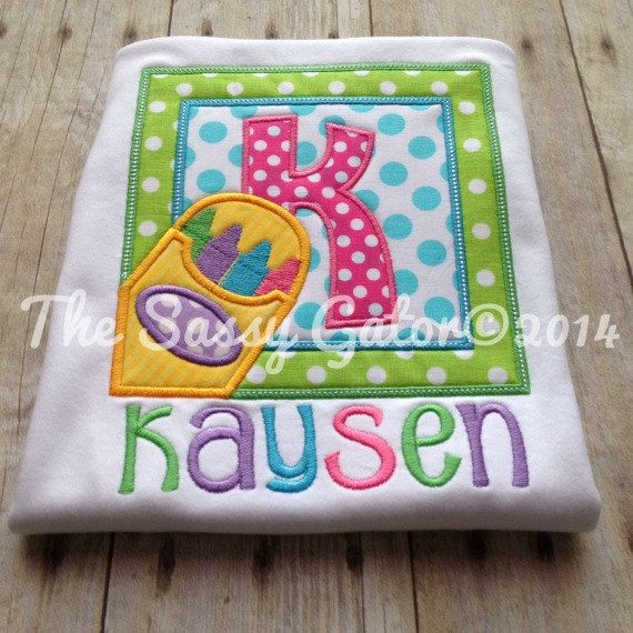 Crayon Frame BACK TO SCHOOL Personalized Applique by TheSassyGator, $24.99