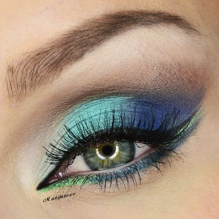 Fresh Blues & Greens for Spring  #eyes #eye #makeup #glitter #bright #dramatic