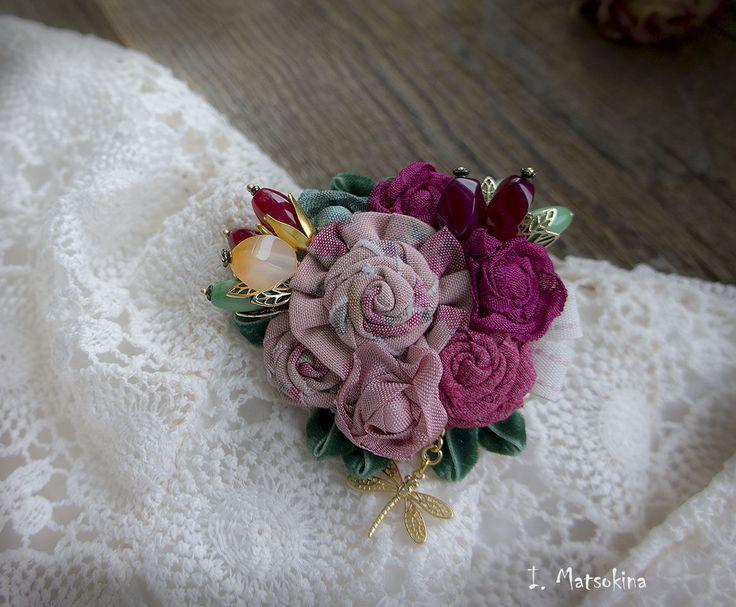 Купить Брошь Стрекоза - розовый, малиновый, зеленый, брошь, брошь ручной работы, брошь цветок