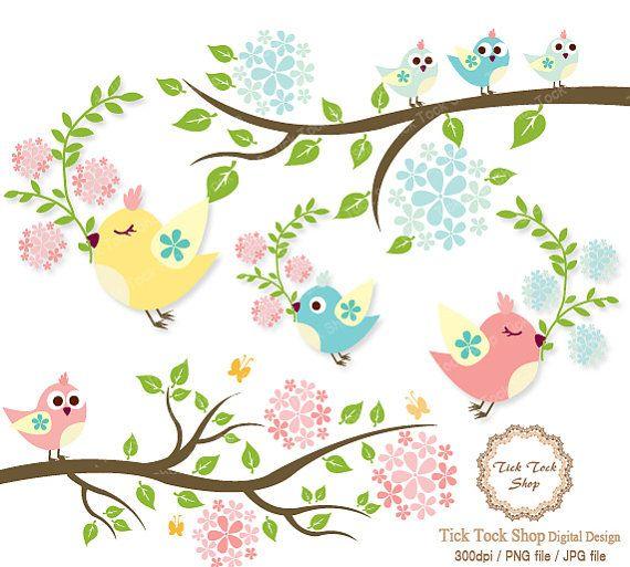 Birds &the branch in full blossom SET - 6 inch(owl dove etc)Clip Art