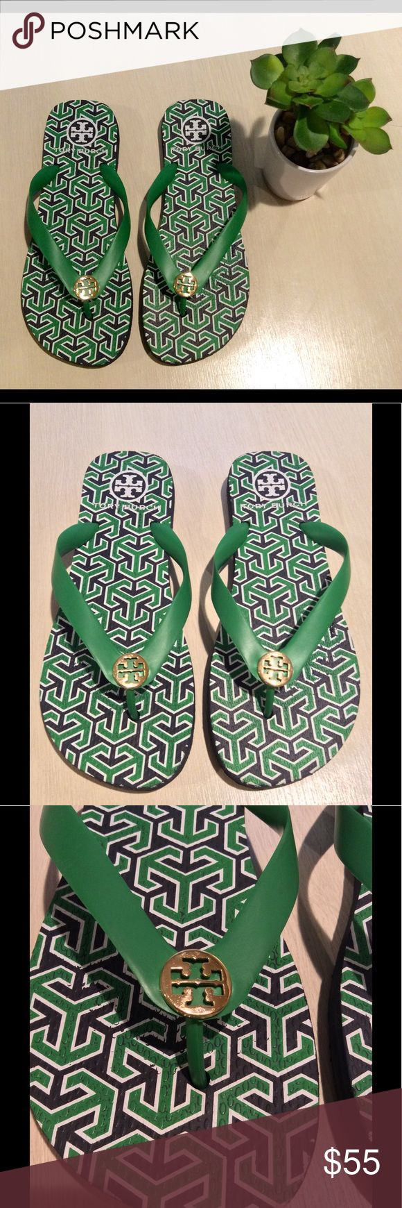 Tory Burch Green Flip Flops Worn once, authentic Tory Burch flip flops, green, Navy and white with Gold emblem, like new, size 6, but could fit up to size 7 Tory Burch Shoes Sandals