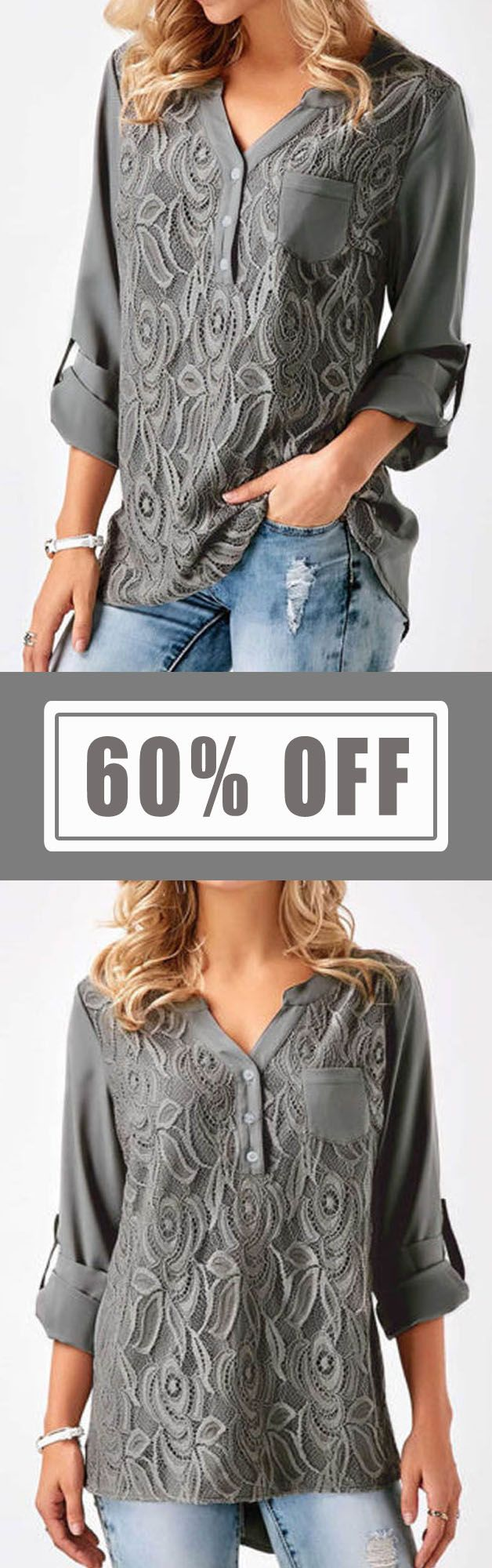 S-5XL Casual Women Lace Splicing V-Neck Shirt. Loose Style, Casual Style, Long Sleeve, V-Neck. Color:Black,Gray,Wine Red. Size:S,M,L,XL,XXL,XXXL,XXXXL,5XL. Buy now!  #women #blouse #fashion