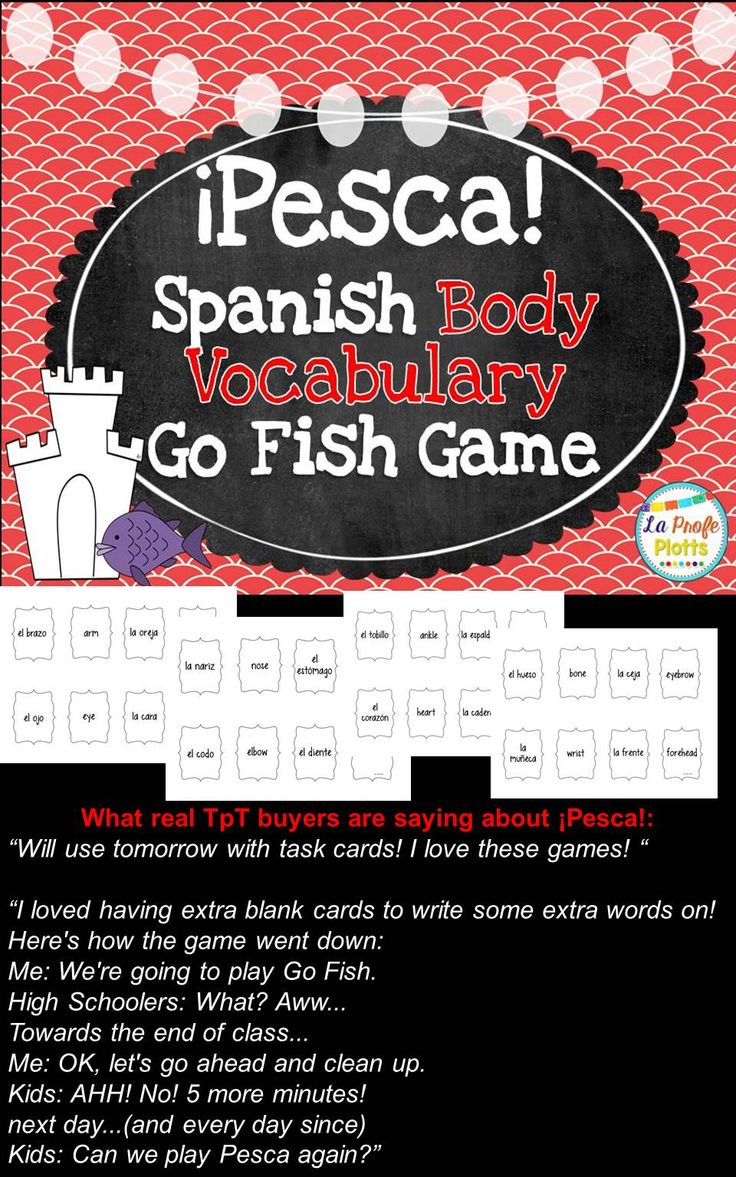 Bilingual dolphin counting card 6 clipart etc - Fun And Engaging Game To Help Students Learn Body Part Vocabulary In Spanish Cards Work