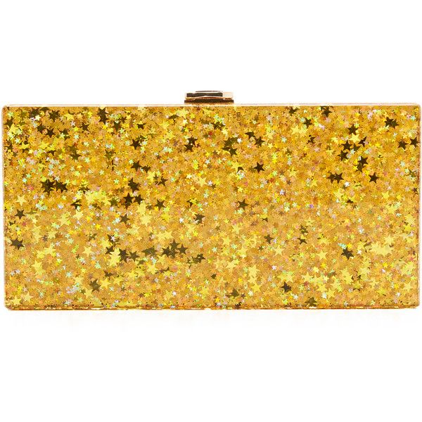 Milly Star Box Clutch (390 CAD) ❤ liked on Polyvore featuring bags, handbags, clutches, gold, yellow handbag, hard clutch, yellow purse, milly handbags and box clutch