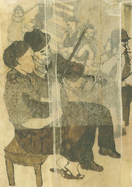 Valérie Losa -  'Sapore italiano', Zoolibri, Reggio Emilia 2010 - Tecnica mista: china, ecoline, brou de noix su carta