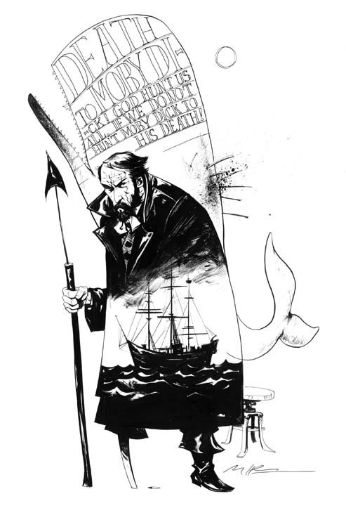 Terrific ink portrait of Captain Ahab by Mike Huddleston #CallMeMelville