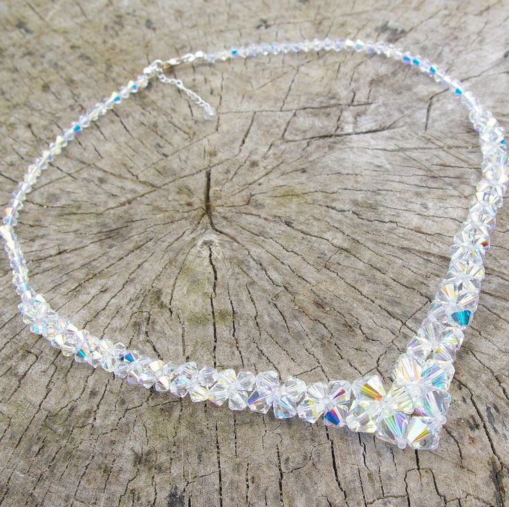 Swarovski Crystal V Necklace, Crystal Wedding Necklace, Special Day Necklace, Swarovski Bridal Necklace. Clear AB Necklace, Bridal Crystal by AuroraCrystalPassion on Etsy