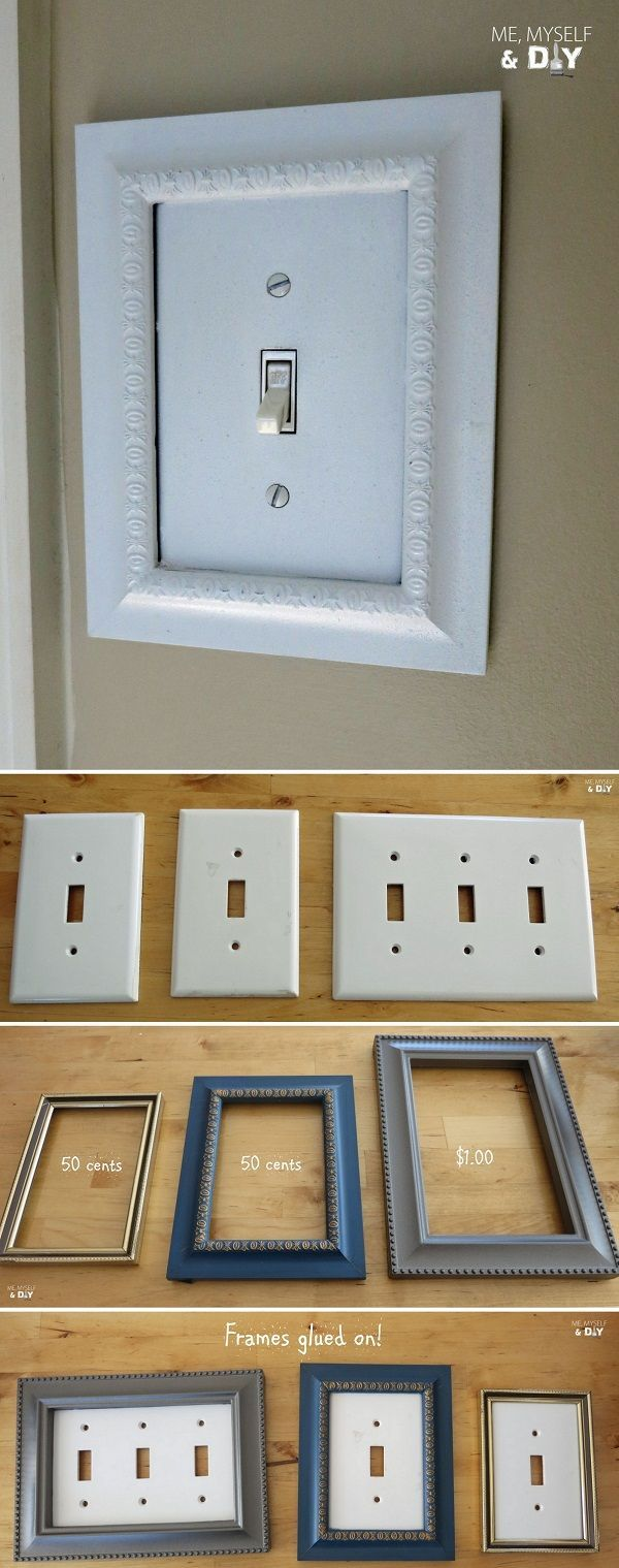 Check out this easy idea on how to make #DIY picture frame light switch plates for living room #homedecor on a #budget #dollarstore #crafts @istandarddesign