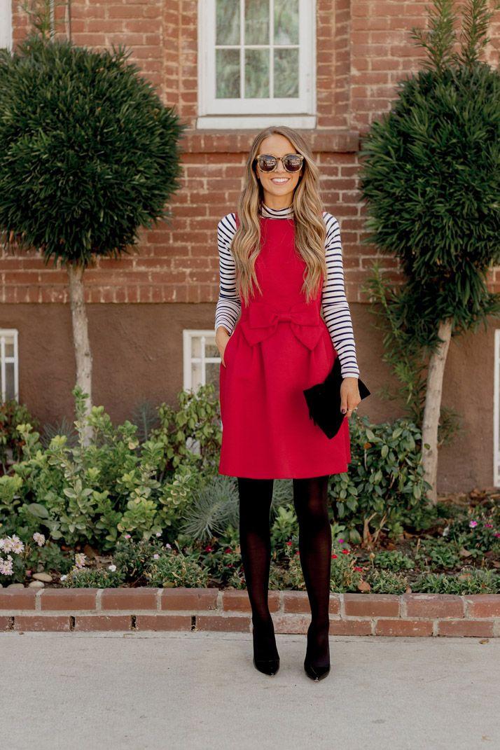 little red dress with black tights and a striped turtleneck | merricksart.com #sponsored #nordstrom @nordstrom