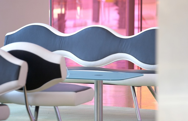 Semiramis wavelength sofa with pink background