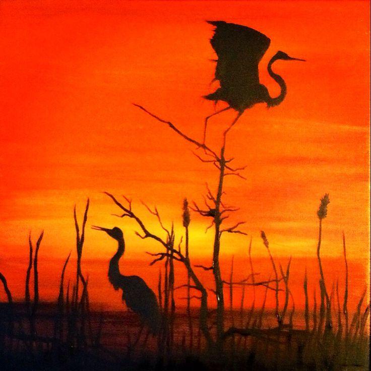 Silence, oil on canvas, 40x40cm, by Lucie Nguyen #painting #oil #sunset #birds #art #canvas