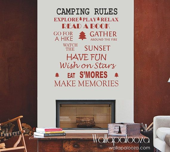 Camping Rules Wall Decal Cottage By WallapaloozaDecals 3000