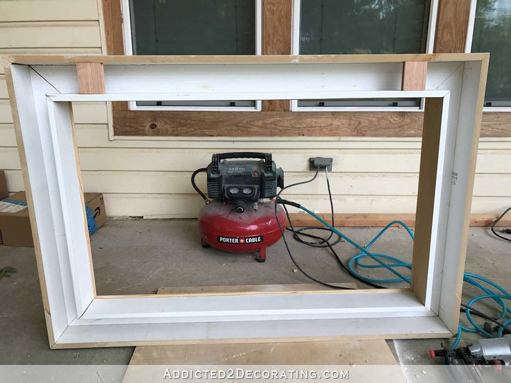 how to build an easy DIY frame for a wall mounted flat screen tv - 11 - back of frame after build is finished