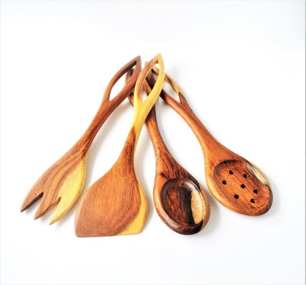 Kitchen Utensils – 4 Wooden spoons, spatulas, kitchen utensils, Egypt – a unique product by Omar-Handmade on DaWanda