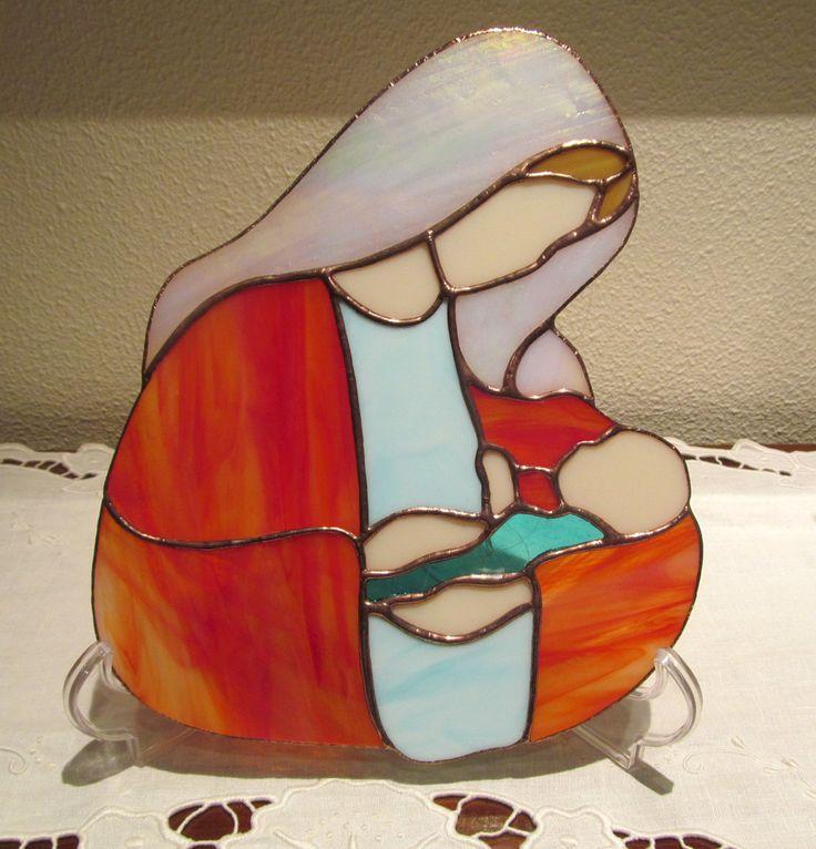 LA VIERGE A L'ENFANT JESUS ✿ VITRAIL TIFFANY ARTISANAL MADONE : Décorations murales par magie-du-vitrail