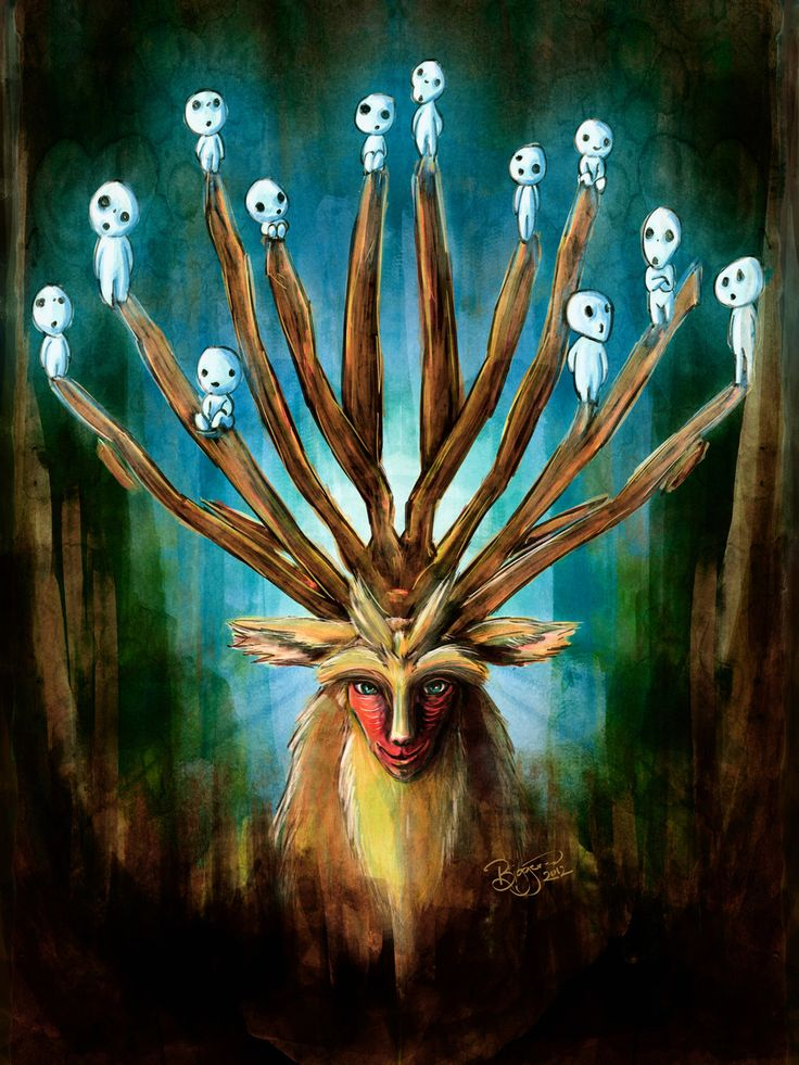 Mononoke Deer God Shishigami Tradigital Painting by ~studiomuku on deviantART