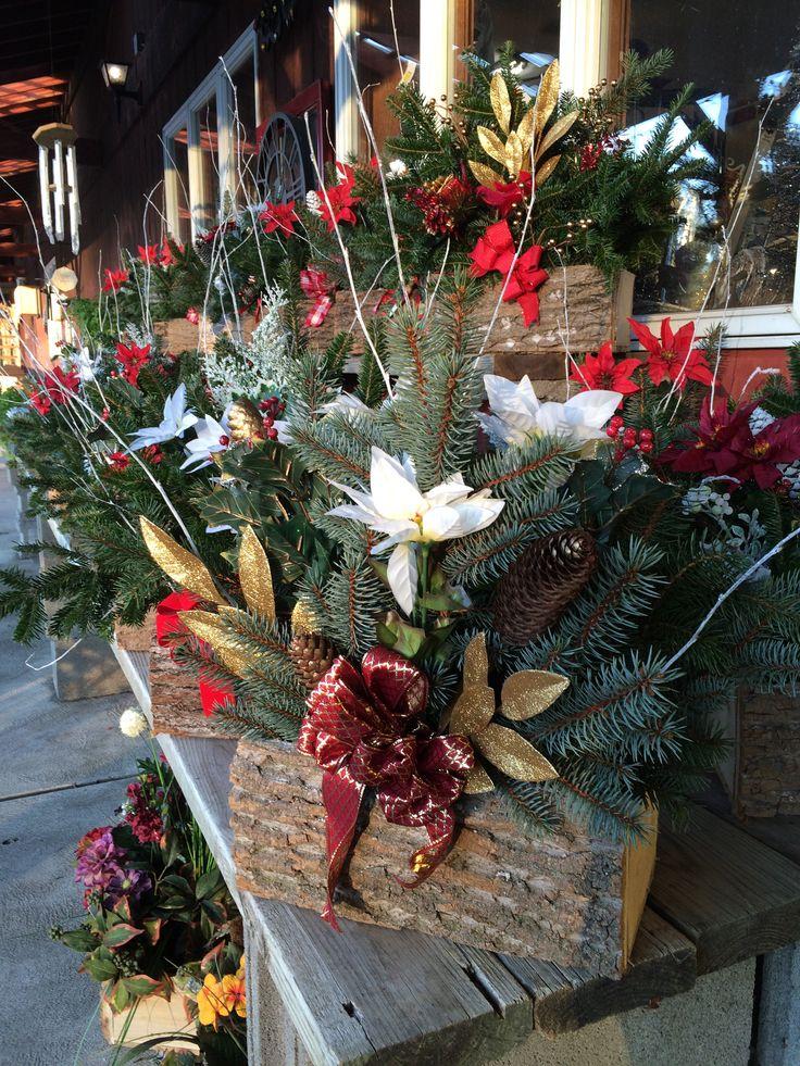 Decorative Cemetery Logs   Christmas floral arrangements ...